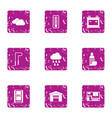 movement icons set grunge style vector image vector image