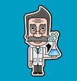 old scientist icon retro cartoon design vector image