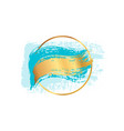 pastel blue brush strokes and gold lines circle vector image