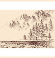 river flow in mountains pine trees forest vector image