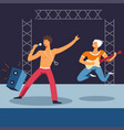 rock concert people singing on stage vector image vector image