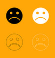 sad emoticon set black and white icon vector image vector image
