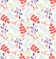Seamless Hand Drawn Flowers and Foliage Pattern vector image vector image