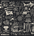 seamless pattern on pirate theme in vintage vector image vector image