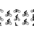 seamless pattern with women riding bicycles vector image