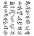 set different phrases christmas calligraphy vector image