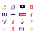 set icons textbooks with apple medical vector image