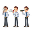 set of businessman in shirt looking for poses vector image vector image