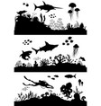 silhouette hand drawn sea coral reef oceanic vector image