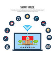 smart house concept with laptop control vector image
