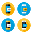 SMS Mobile Circle Flat Icons Set vector image vector image