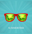 summer glasses reflection of palms vector image vector image