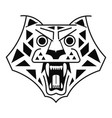 tiger head black on white logo vector image vector image