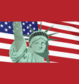 usa flag with statue vector image vector image