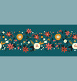 winter autumn flowers seamless border vector image