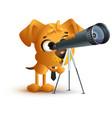 yellow fun dog teacher looking through telescope vector image vector image