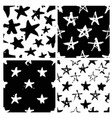set of hand drawn paint seamless pattern black vector image