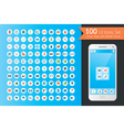 UI Flat Icons Set with Smart Phone vector image