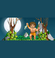 a caveman hunting for food vector image