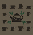 a set of 12 cups of various shapes and a glass vector image vector image