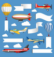 air banners plane and air balloon corn duster and vector image