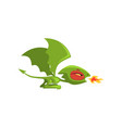 angry little dragon breathing fire green fairy