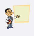 asian doctor points relaxed with a book in his vector image
