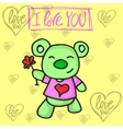 bear character valentine vector image vector image