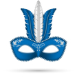 blue mask with feathers vector image vector image