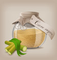 brown sugar in jar with sugar cane and leaves vector image