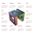 Calendar for 2017 with year 3D emblem vector image vector image