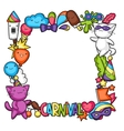 Carnival party kawaii frame Cute cats vector image vector image