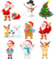 cartoon santa claus with many animals collection vector image vector image