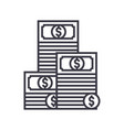 cashpile of banknotes line icon sign vector image