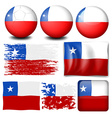 Chile flag in different designs vector image vector image