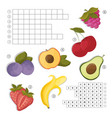 crossword for learning english find the fruits vector image vector image