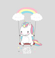 cute baby unicorn swing rainbow print poster vector image vector image