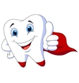Cute cartoon superhero tooth vector image vector image