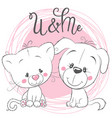 cute cat and dog on a pink background vector image