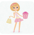 cute girl with gift box vector image