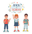 cute pupils children stand together vector image