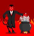 Devil boil sinners boiler Demon cooking Big black vector image vector image