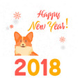 dog symbol of the year 2018 happy new year greet vector image vector image