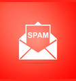 envelope with spam icon on orange background vector image vector image