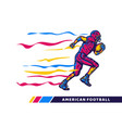 football player holding rugby ball when running vector image vector image