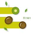 fresh kiwi fruit background in paper art style vector image