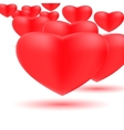 Group of red hearts on a white background vector image