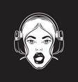 hand drawn of singing girl in headphones creative vector image
