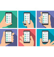 hand holds a smart phone in vertical position vector image vector image