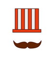 hat and mustache carnival man vector image vector image